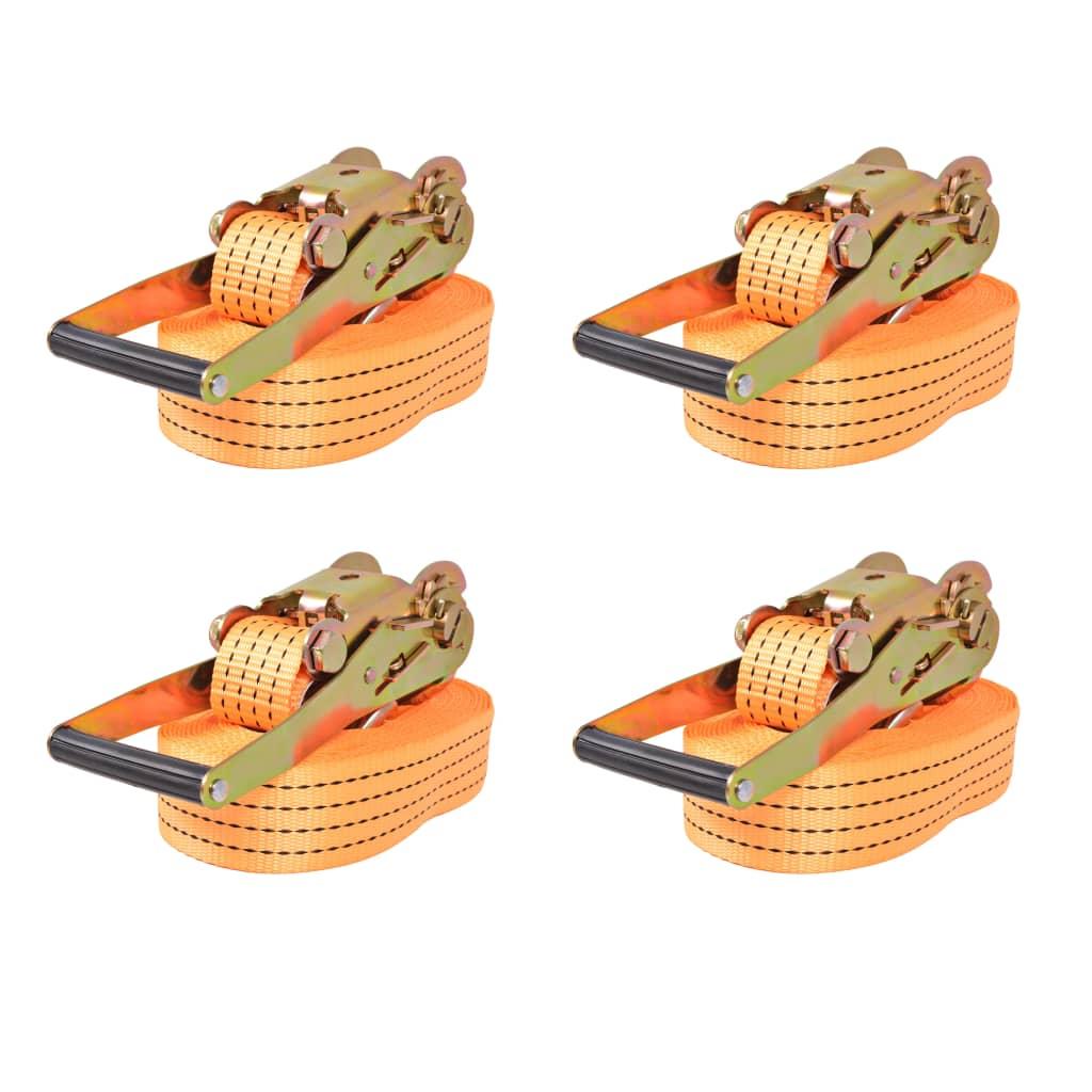 vidaXL Ráčnové upínací pásy, 4 ks, 4 tuny, 8mx50mm, oranžové