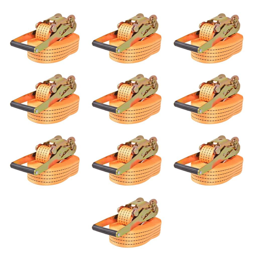 vidaXL Ráčnové upínací pásy, 10 ks, 4 tuny, 8mx50mm, oranžové