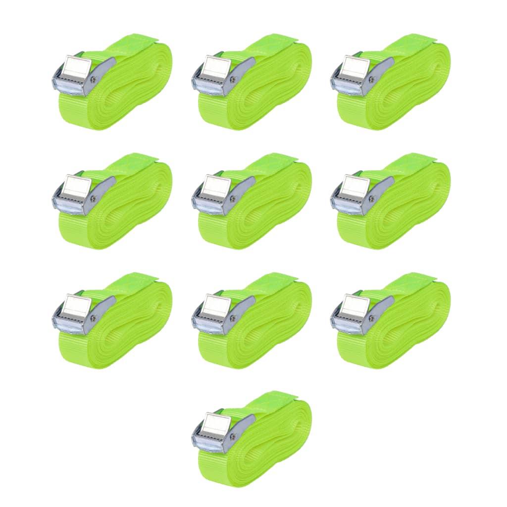 vidaXL Upínací pásy, 10 ks, 0,25 tuny, 5mx25mm, zářivě zelené