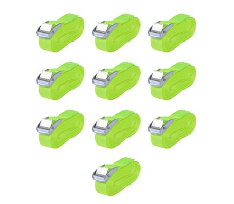 vidaXL Correas 10 unidades verde fluorescente 0,25 T 5 mx 25 mm[1/5]