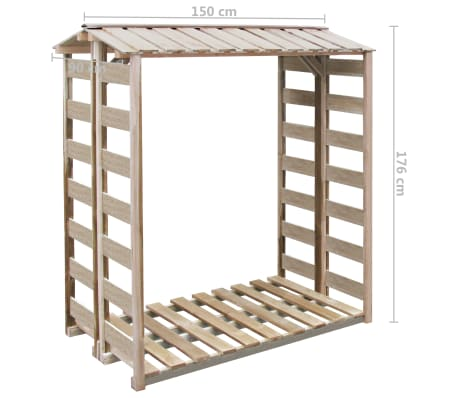 vidaXL Șopron lemne de foc, 150 x 100 x 176 cm, lemn de pin tratat FSC[3/3]