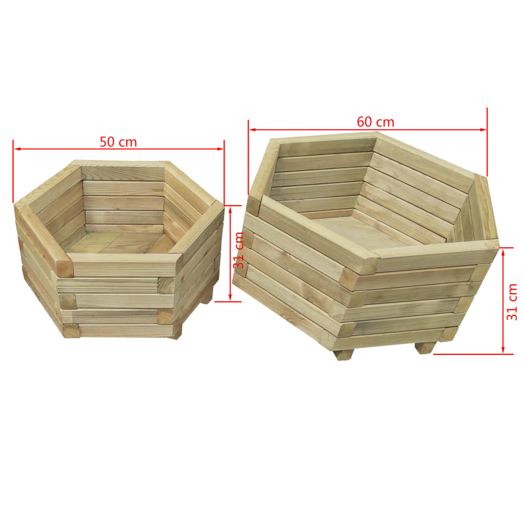 2-delige Plantenbakkenset Verhoogd geïmpregneerd grenenhout