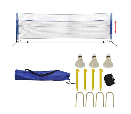 vidaXL Set fileu de badminton, cu fluturași, 500x155 cm