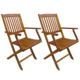 vidaXL Outdoor Folding Dining Chairs 2 pcs Solid Acacia Wood