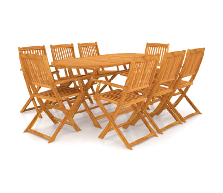 vidaXL 9 Piece Folding Outdoor Dining Set Solid Acacia Wood