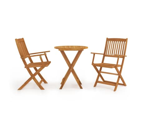 vidaXL 3 Piece Folding Bistro Set solid Acacia Wood