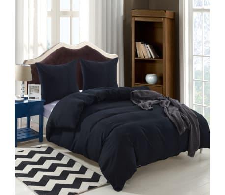 vidaxl 3 tlg bettw sche set schwarz 200x200 60x70 cm g nstig kaufen. Black Bedroom Furniture Sets. Home Design Ideas
