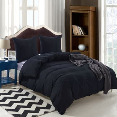 vidaXL Pussilakanasetti 3 osaa Musta 240x220/60x70cm[2/4]