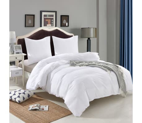 vidaXL Set husă pilotă 3 piese, alb, 240 x 220 / 60 x 70 cm[2/4]