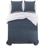 vidaXL Three Piece Duvet Cover Set Polka Dot Print 240x220/80x80 cm