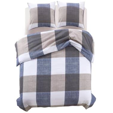 vidaxl 3 tlg bettw sche set kaffeebraun kariert 240x220 60x70 cm g nstig kaufen. Black Bedroom Furniture Sets. Home Design Ideas