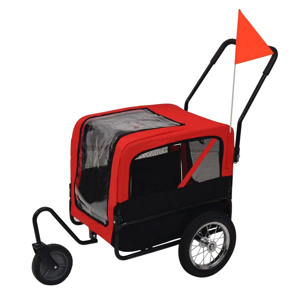 vidaXL Remorcă bicicletă & cărucior jogging câini, roșu și negru vidaxl.ro