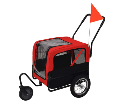 vidaXL 2-in-1 Pet Bike Trailer & Jogging Stroller Red and Black[1/5]