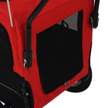 vidaXL 2-in-1 Pet Bike Trailer & Jogging Stroller Red and Black[3/5]