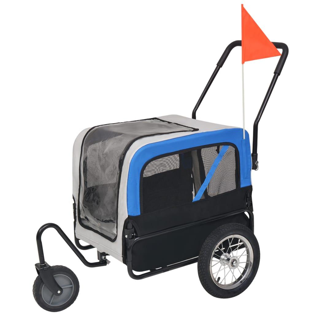 vidaXL Remorcă bicicletă & cărucior jogging câini, gri și albastru vidaxl.ro