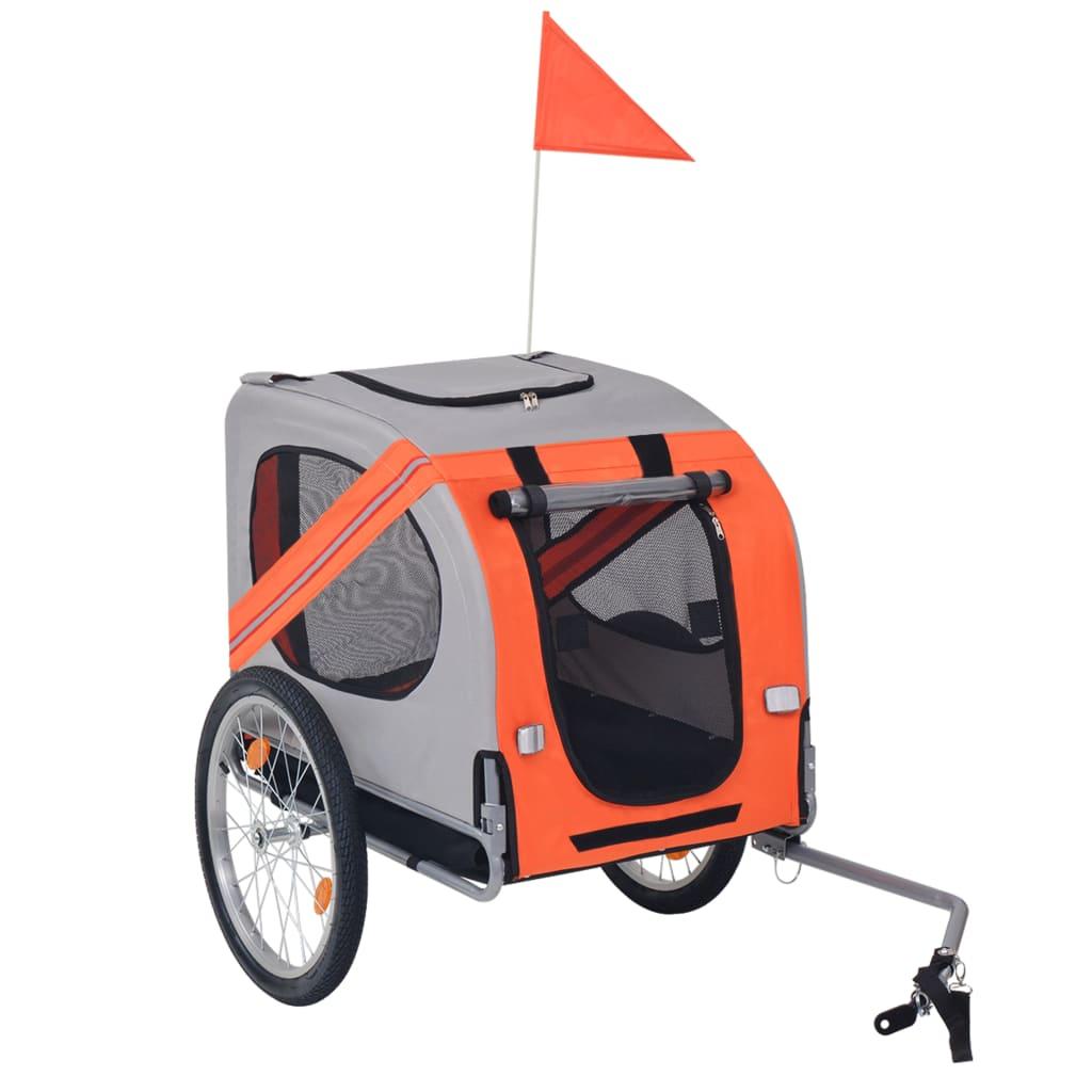vidaXL Remorcă bicicletă pentru câini, portocaliu și gri vidaxl.ro