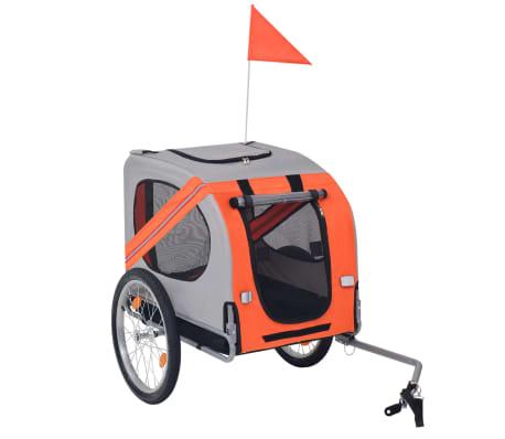 vidaXL Hunde-Fahrradanhänger Orange und Grau[1/6]
