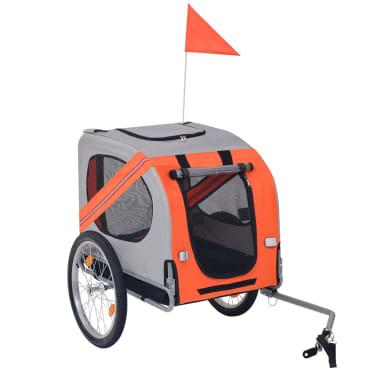 vidaXL Cykelvagn för hund orange och grå[1/6]