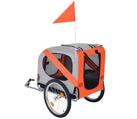 vidaXL Hunde-Fahrradanhänger Orange und Grau[2/6]