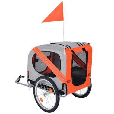 vidaXL Cykelvagn för hund orange och grå[2/6]