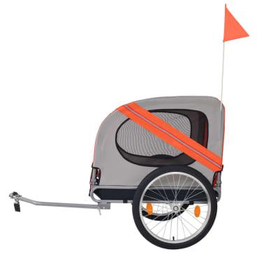 vidaXL Hunde-Fahrradanhänger Orange und Grau[3/6]