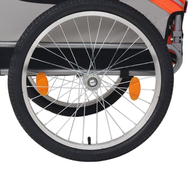 vidaXL Cykelvagn för hund orange och grå[4/6]