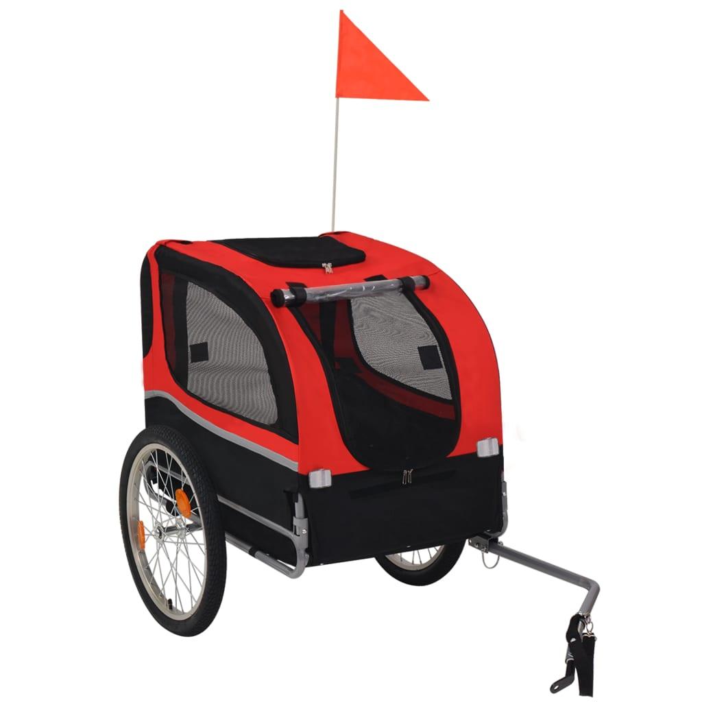 vidaXL Remorcă bicicletă pentru câini, roșu și negru vidaxl.ro