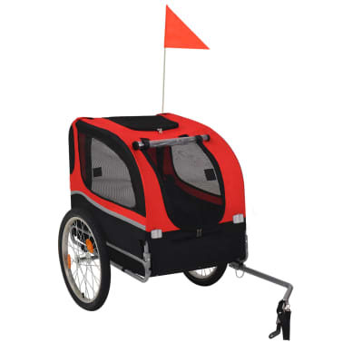 vidaXL Dog Bike Trailer Red and Black[1/6]