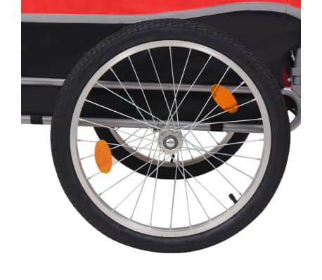 vidaXL Dog Bike Trailer Red and Black[4/6]