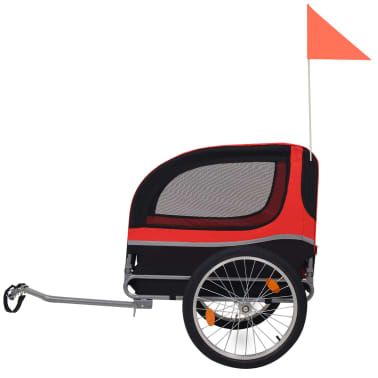 vidaXL Dog Bike Trailer Red and Black[3/6]