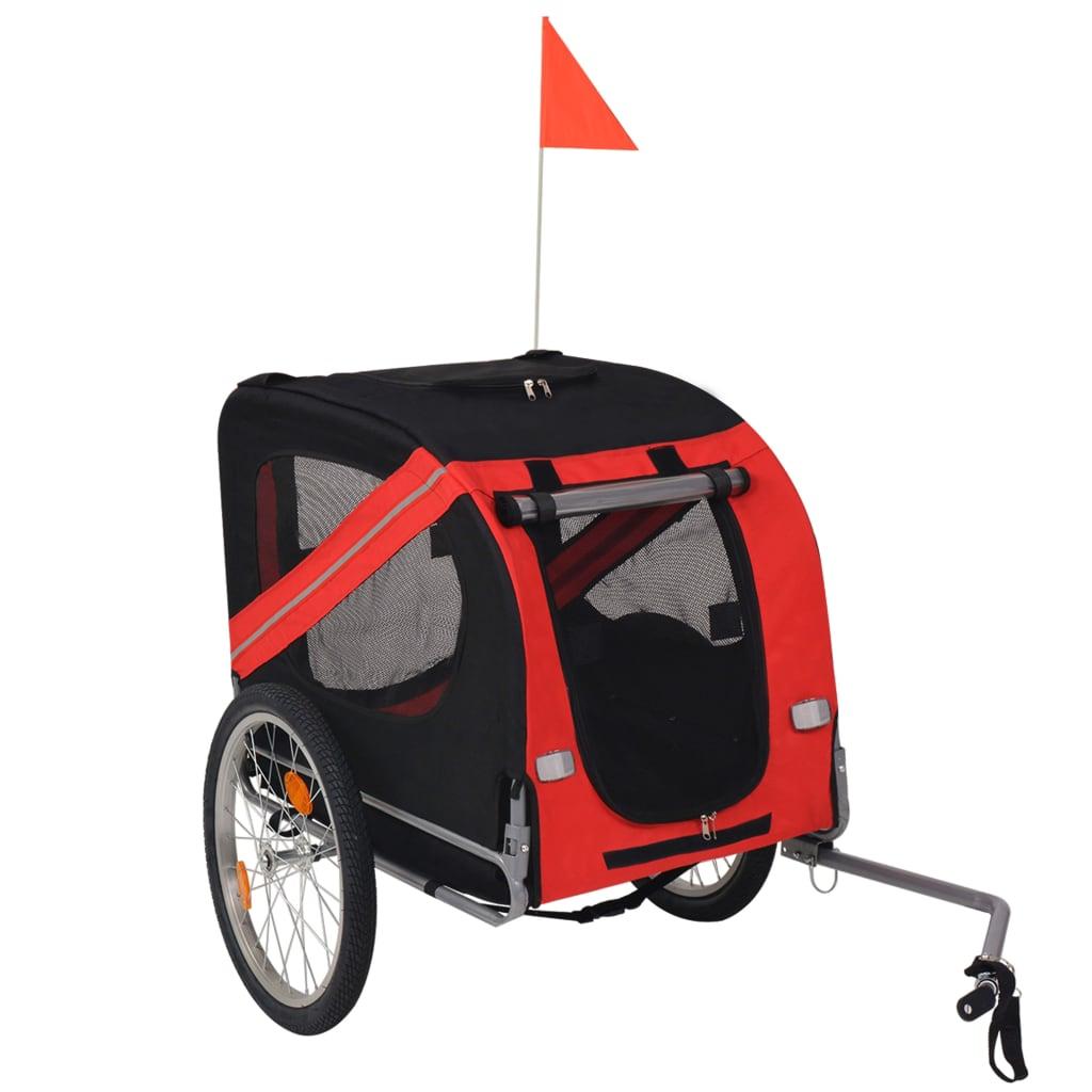 Vozík za kolo pro psa červeno-černý