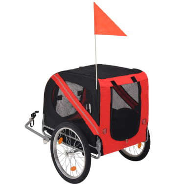 vidaXL Dog Bike Trailer Red and Black[2/6]
