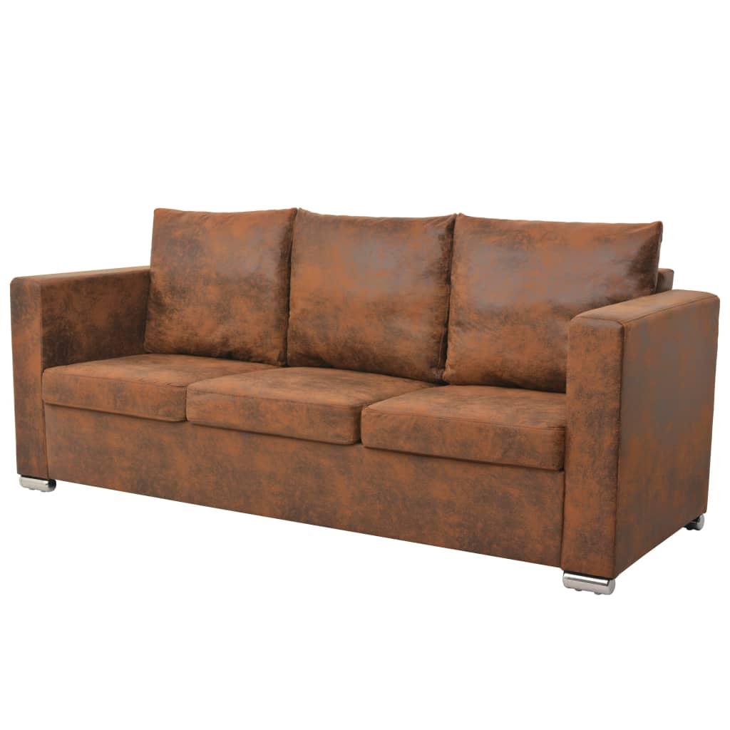 vidaXL Sofa 3-osobowa, 191 x 73 x 82 cm, sztuczny zamsz