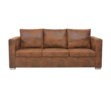 acheter vidaxl canap 3 places 191 x 73 x 82 cm cuir daim artificiel pas cher. Black Bedroom Furniture Sets. Home Design Ideas