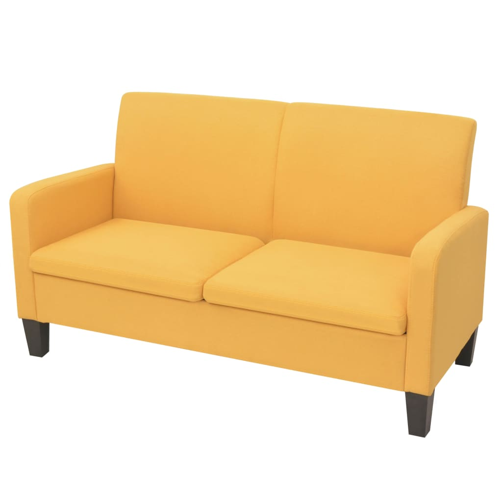 vidaXL Sofa 2-osobowa, żółta, 135 x 65 x 76 cm