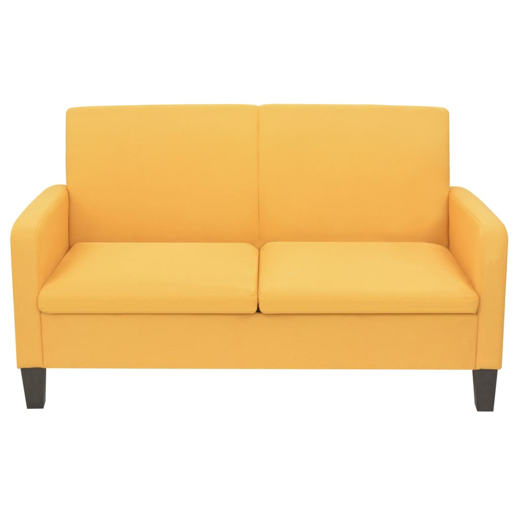 vidaXL Tweezitsbank 135x65x76 cm geel