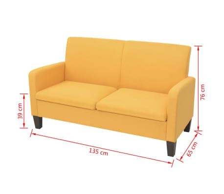 vidaXL Sofá de 2 plazas 135x65x76 cm amarillo[4/4]