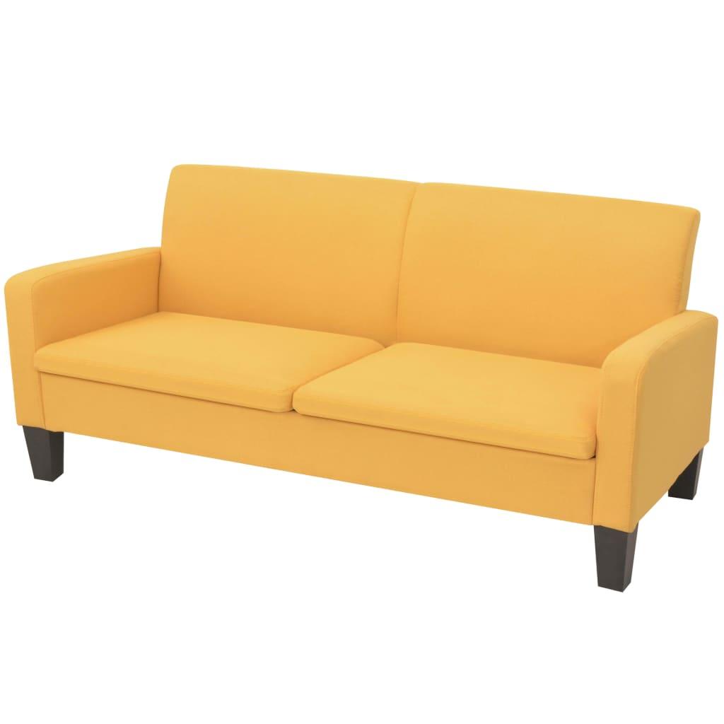 vidaXL Sofa 3-osobowa, żółta, 180 x 65 x 76 cm