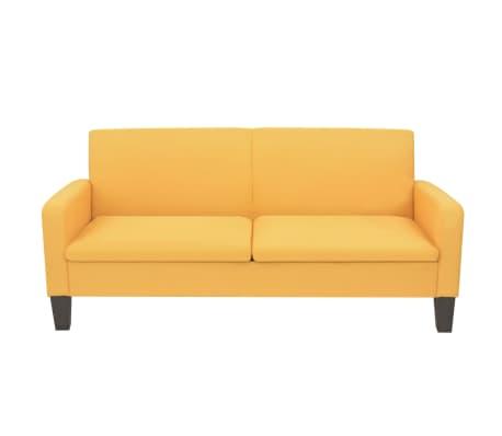 vidaXL Trivietė sofa, 180x65x76, geltonos spalvos[2/4]
