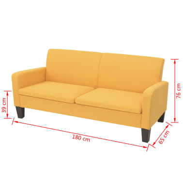 vidaXL Trivietė sofa, 180x65x76, geltonos spalvos[4/4]