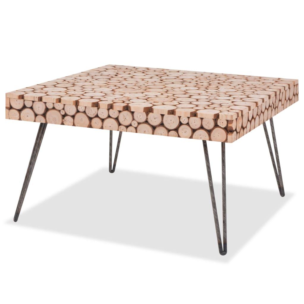 vidaXL Stolik z prawdziwego drewna, 60,8 x 60,8 x 34,5 cm