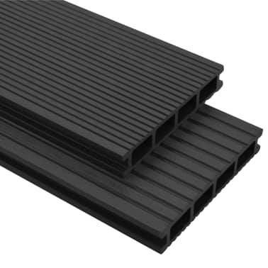 vidaXL WPC Decking Boards with Accessories 2 m² Anthracite[1/9]