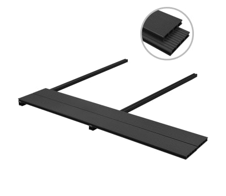 vidaXL WPC Decking Boards with Accessories 2 m² Anthracite[2/9]