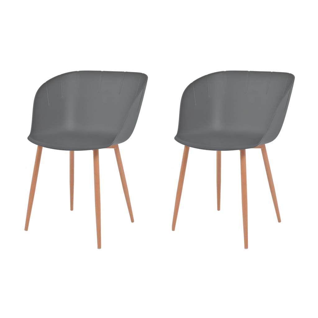vidaXL Καρέκλες Τραπεζ. 2 τεμ. Γκρι Πλαστικό Κάθισμα/Ατσάλινα Πόδια