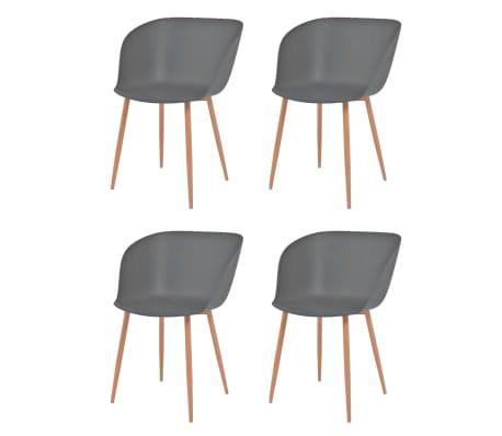 vidaXL Valgomojo kėdės, 4vnt., pilkos spalvos, plastikas