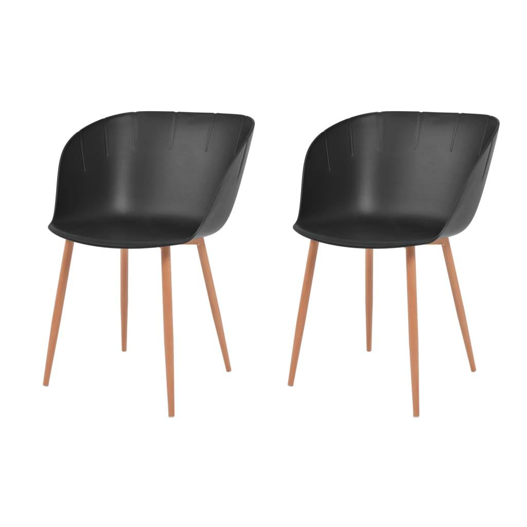 vidaXL Καρέκλες Τραπεζ. 2 τεμ. Μαύρες Πλαστικό Κάθισμα/Ατσάλινα Πόδια