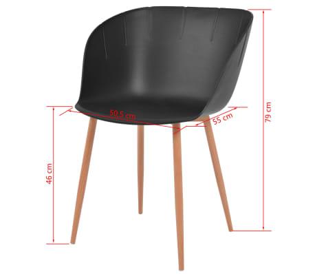 Sedie Acciaio E Plastica.Vidaxl Sedie Da Pranzo 2 Pz Sedile Plastica Nero E Gambe Acciaio