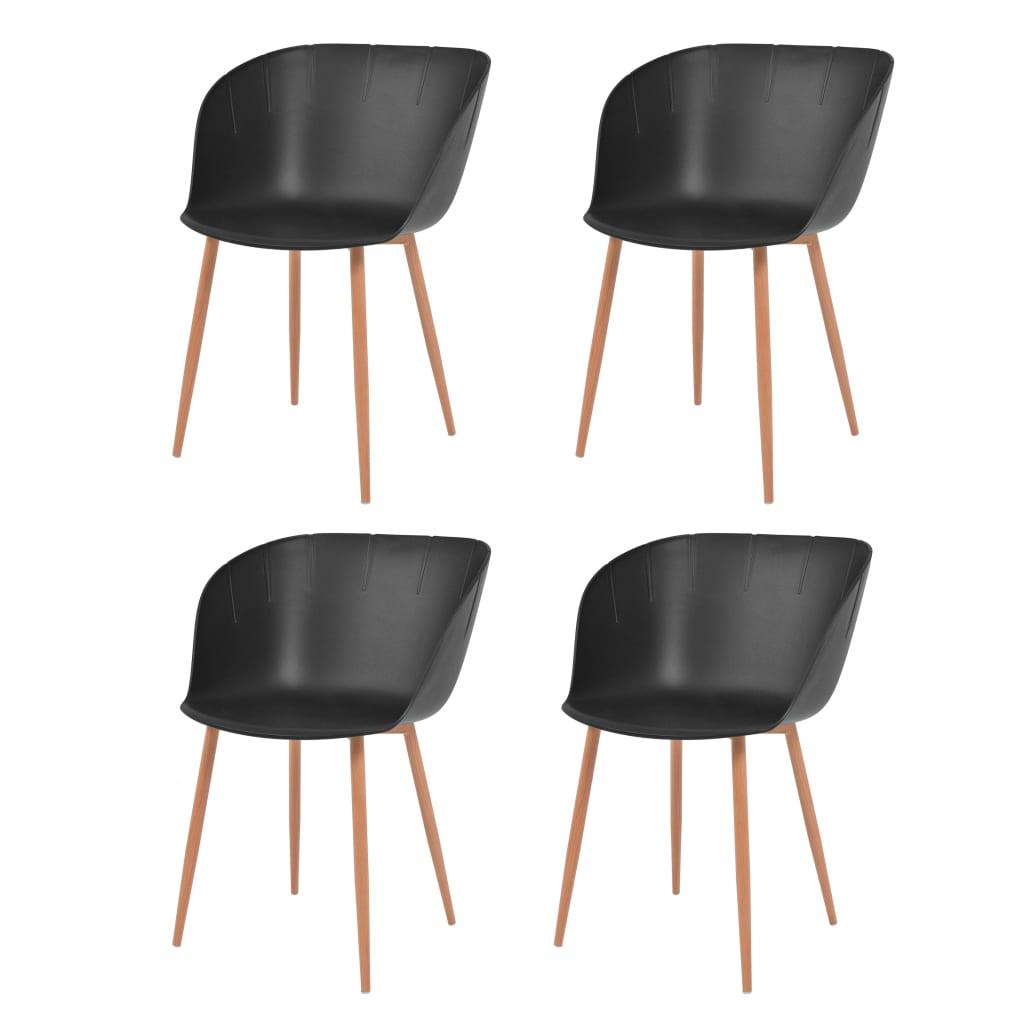 vidaXL Καρέκλες Τραπεζ. 4 τεμ. Μαύρες Πλαστικό Κάθισμα/Ατσάλινα Πόδια