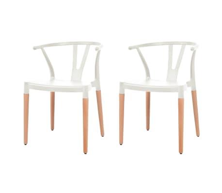 vidaXL Jedálenské stoličky 2 ks, biele, plastové sedadlo, oceľové nohy[1/6]