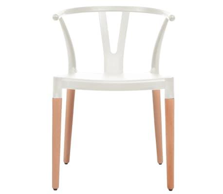 vidaXL Jedálenské stoličky 2 ks, biele, plastové sedadlo, oceľové nohy[2/6]